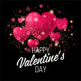 Fondo brillante del día del ` s de la tarjeta del día de San Valentín Vector Imágenes de archivo libres de regalías