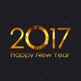 Fondo brillante del oro de la Feliz Año Nuevo 2017 Ilustración del vector Fotografía de archivo libre de regalías