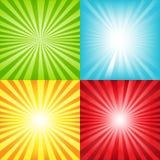 Fondo brillante del resplandor solar con las vigas y las estrellas ilustración del vector