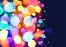 Fondo brillante del vector del efecto luminoso del bokeh de los colores Foto de archivo