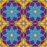 Fondo brillante del vitral Modelo inconsútil del caleidoscopio colorido con los ornamentos redondos decorativos Adorno floral stock de ilustración
