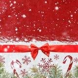 Fondo brillante di natale o del nuovo anno di Snowy Fotografia Stock