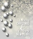 Fondo brillante elegante di Natale con le bagattelle Fotografia Stock