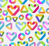 Fondo brillante inconsútil con el corazón de papel y el figu geométrico Foto de archivo libre de regalías