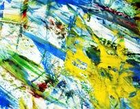Fondo brillante rojo azul amarillo de la acuarela de la pintura de la falta de definición de la mezcla, fondo de pintura abstract ilustración del vector