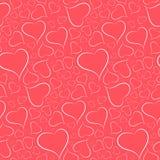 Fondo brillante romántico con un corazón blanco p inconsútil - vector del esquema Fotos de archivo libres de regalías