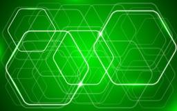 Fondo brillante verde del hexágono Fotos de archivo libres de regalías