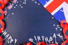 Fondo britannico del partito di tema con i confini decorati Fotografia Stock Libera da Diritti