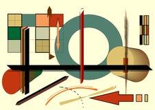 Fondo, círculo y flecha beige abstractos, estilo 18-60 del arte del expresionismo Imágenes de archivo libres de regalías