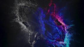 Fondo cósmico abstracto con las estrellas y la nube de los colores azules y rosados, lazo inconsútil animaci?n Mudanza de la nebu almacen de metraje de vídeo