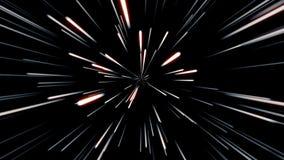 Fondo cósmico abstracto 4k Rayos y líneas que brillan intensamente de neón grises y rojos en el movimiento Animaci?n colocada libre illustration