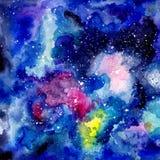 Fondo cósmico de la acuarela Foto de archivo libre de regalías