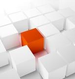 Fondo cúbico abstracto 3D con el cubo rojo Imagen de archivo libre de regalías