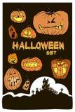 Fondo, calabaza y castillo de Halloween Tarjeta de felicitación para el par fotos de archivo