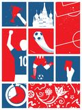 Fondo calcio/di calcio Retro manifesto di calcio russo di tema Fotografia Stock