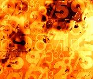 Fondo caldo astratto arancio di numeri Fotografia Stock Libera da Diritti