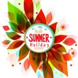 Fondo caliente de las vacaciones de verano con la etiqueta engomada del círculo Fotografía de archivo