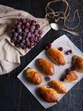 Fondo cambiante oscuro cocido de la fotografía de las empanadas rusas de las empanadas de los pasteles de la cereza Imagen de archivo libre de regalías