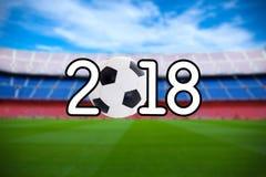 Fondo 2018 - campo de fútbol borroso del fútbol en el st moderno Fotografía de archivo libre de regalías