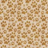 Fondo canino di Brown Paw Print Tile Pattern Repeat Immagini Stock Libere da Diritti