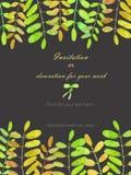 Fondo, cartolina del modello con i rami di albero dell'acacia, disegnati a mano su un fondo scuro royalty illustrazione gratis