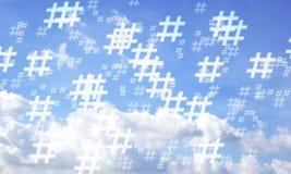 Fondo casuale del modello del hashtag e del cielo blu Fotografie Stock