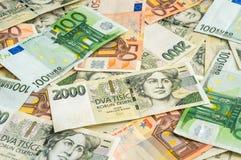 Fondo ceco ed euro delle banconote Immagini Stock