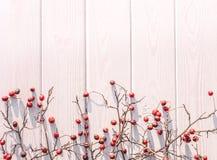 Fondo celebrador de la Navidad del invierno Bayas del espino y madera blanca Foto de archivo