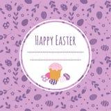Fondo celebratorio con il dolce di Pasqua, le uova dipinte e lo spazio per testo Fotografia Stock Libera da Diritti