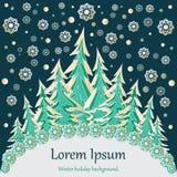 Fondo celebratorio della foresta di inverno Fotografie Stock Libere da Diritti