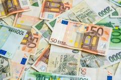 Fondo checo y euro de los billetes de banco Fotografía de archivo