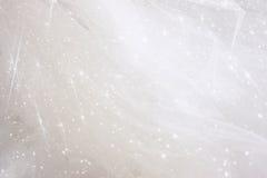 Fondo chiffon d'annata di struttura di Tulle con la sovrapposizione di scintillio Arco della stella blu con il nastro blu (involu Fotografia Stock
