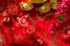 Fondo chino de las decoraciones del festival del Año Nuevo Imagen de archivo libre de regalías