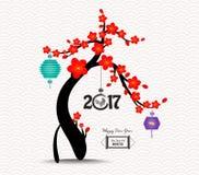 Fondo chino 2017 del árbol del flor del Año Nuevo