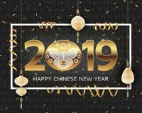 Fondo chino del Año Nuevo con el cerdo estilizado creativo libre illustration