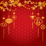 Fondo chino del Año Nuevo con la decoración de oro ilustración del vector