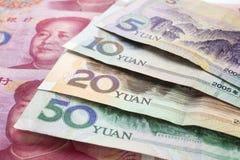 Fondo chino del dinero en circulación de Yuan Renminbi Foto de archivo