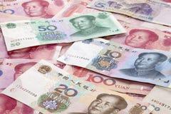 Fondo chino del dinero en circulación de Yuan Renminbi Imagen de archivo libre de regalías