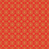 Fondo chino del estampado de plores de la estrella del polígono del tracery de la ventana del vintage inconsútil de oro Foto de archivo