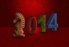 2014 fondo chino del rojo del bloque de madera del caballo 3D Fotos de archivo