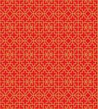 Fondo chino inconsútil de oro del modelo del cuadrado de la cruz del tracery de la ventana Imágenes de archivo libres de regalías