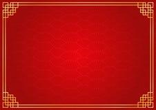 Fondo chino rojo del extracto de la fan con la frontera de oro Foto de archivo libre de regalías