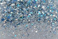 Fondo chispeante congelado azul y de plata del brillo de las estrellas del invierno de la nieve Día de fiesta, la Navidad, textur fotos de archivo