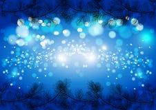 Fondo chispeante de la Navidad azul, plantilla de la tarjeta del vector del invierno Imagenes de archivo