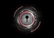 Fondo cibernético abstracto tecnológico del concepto de la cerradura de la seguridad Imagen de archivo