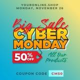 Fondo cibernético de la promoción de lunes de la venta grande el 50% de toda la plantilla en línea de la bandera del descuento de Fotos de archivo