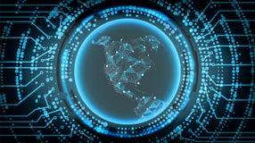 Fondo cibernético del concepto de la tecnología futura Correspondencias de imágenes de la NASA Ilustración del vector libre illustration