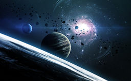 Fondo científico abstracto - planetas en espacio, nebulosa y estrellas Elementos de esta imagen equipados por la NASA de la NASA  Imagen de archivo libre de regalías