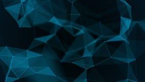 Fondo científico y tecnología abstracta Papel pintado dinámico digital del plexo Líneas, triángulos y puntos encuadernados bucle ilustración del vector
