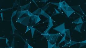 Fondo científico y tecnología abstracta Papel pintado dinámico digital del plexo Líneas, triángulos y puntos encuadernados bucle libre illustration